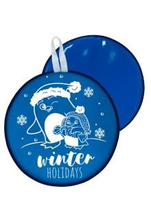 Мт13317 сани-ледянка круглая пингвины цвет голубой, 46,5см