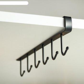Держатель кухонный подвесной на 6 предметов, 1,5x26x7 см, цвет чёрный