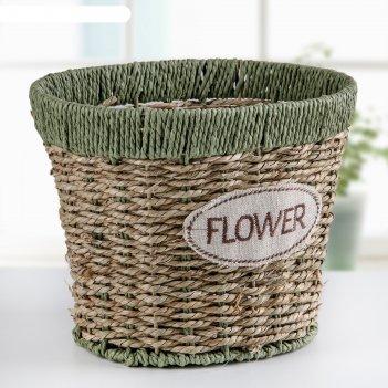 Кашпо плетеное цветы 17х13х15 см, цвет зелено-коричневый