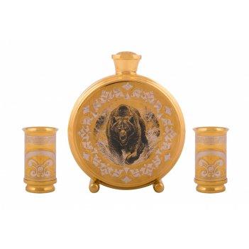 Набор охотничий медведица ( фляга средняя, 2 стопки )  златоус