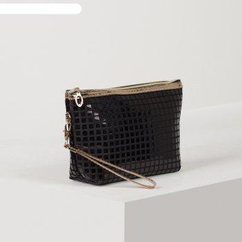 Косметичка-сумка шик, 23*6*14, отд на молнии с ручкой, черный