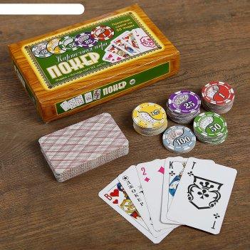 Покер, набор для игры (карты 52 листа, фишки 88 шт.)