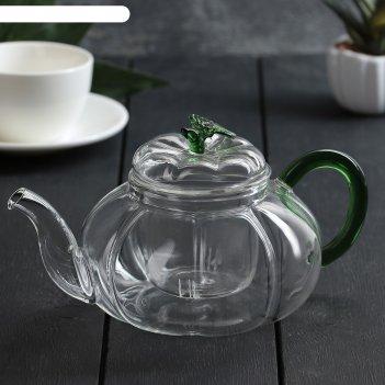 Чайник заварочный 800 мл грин, со стеклянным ситом
