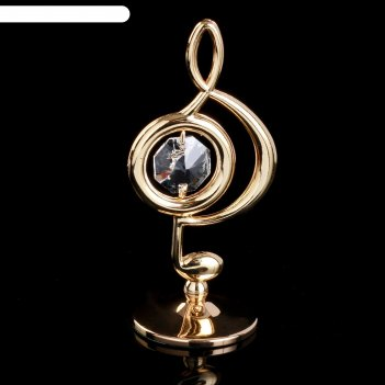 Сувенир с кристаллами сваровски скрипичный ключ золото 7,6х3,7 см