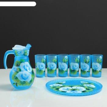 Набор для сока с подносом розы художественная роспись, 6 стаканов 1250/200