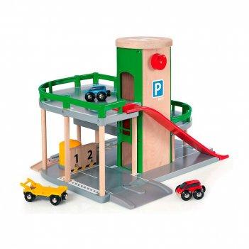 Brio парковка к ж д полотну с лифтом и 3 машинками,34х19х39см,кор.