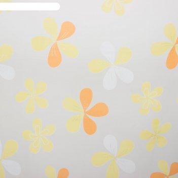 Тюль этель цветы лета (цвет оранжевый) без утяжелителя, ширина 135 см, выс