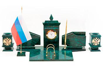 Настольный набор с гербом и флагом россии