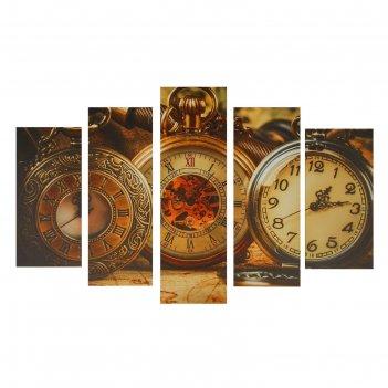 Модульная картина на подрамнике карманные часы, 2 — 25x52, 2 — 25x66,5, 1