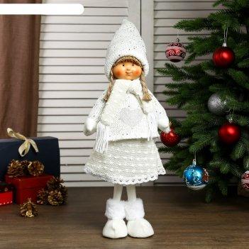 Кукла интерьерная девочка валя в белом свитере с сердечком 55х14х19 см