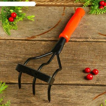 Рыхлитель-полольник, длина 29 см, 3 зубца, пластиковая ручка, «дачник»