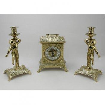 Часы каминные бронзовые антикварные и  2 канделябра на 1 свечу
