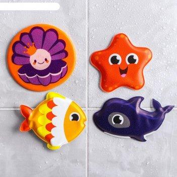 Игрушка для купания морские друзья (набор 3 шт) + мини-коврик