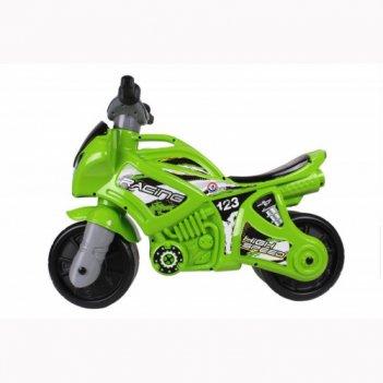 Т6443 каталка-мотоцикл беговел racing, свет, цвет зелёный