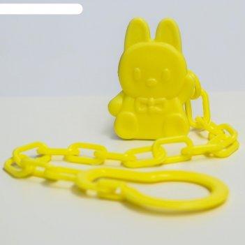 Держатель для пустышки на цепочке, цвет голубой, микс форм