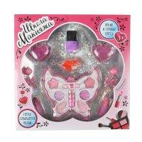 Набор косметики для девочки бабочка: тени, аппликатор, серёжки, помады, бл