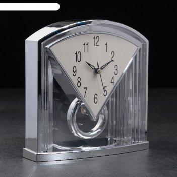 Часы настольные лисси, 2 батарейки 3 ааа, маятник, плавный ход 19.3х6.5х19