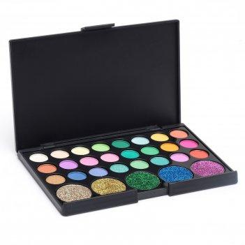 Набор теней 24 цвета и 5 цветов с блестками