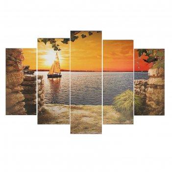 Часы настенные модульные «парусник на закате», 80 x 140 см