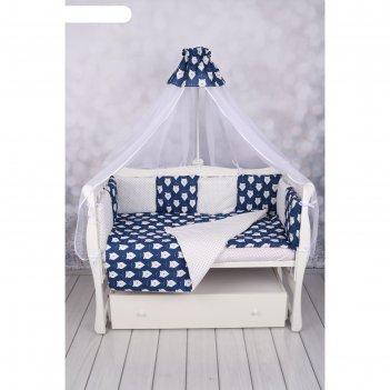 Комплект в кроватку wb, 15 предметов, бязь, цвет синий, принт белые медвед