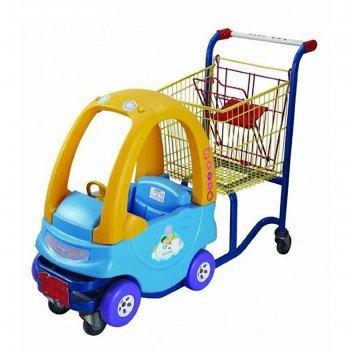 Детская тележка-автомобильчик, цвет синий/жёлтый