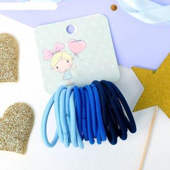 Резинка для волос спорт (набор 18 шт) синий