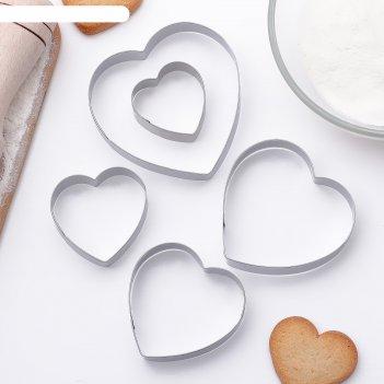 Набор форм для вырезания печенья 7,5x7,4 см сердечко, 5 шт