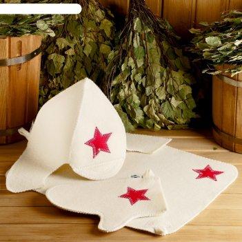 Набор для бани будёновец шапка, коврик, рукавица