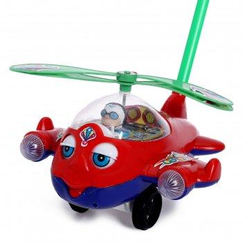Каталка на палке вертолет цвет микс
