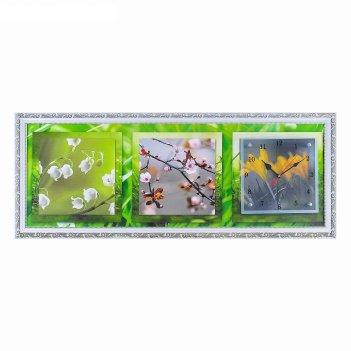 Часы-картина настенные весеннее настроение, 35х100 см