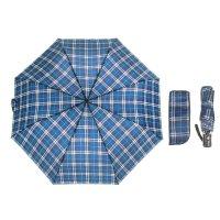 Зонт автоматический «клетка», 3 сложения, 8 спиц, r = 49 см, цвет синий/бе