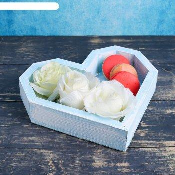 Ящик сердце, голубая кисть, 26,5x24x4,5 см