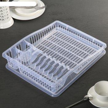Сушилка для посуды степ прозрачная, цвет микс