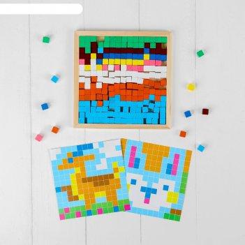 Мозаика. цветные кубики лесные животные