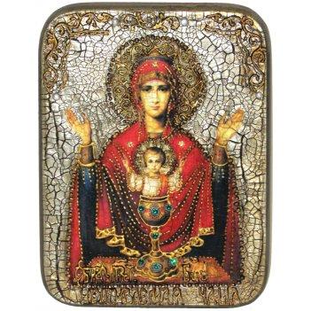 Подарочная икона божией матери неупиваемая чаша на мореном дубе