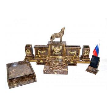 Письменный набор из итальянского мрамора с фигуркой волка
