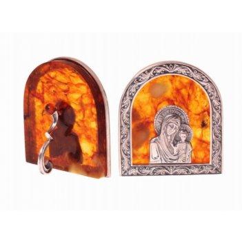 Янтарная иконка богородица в ювелирной бронзе