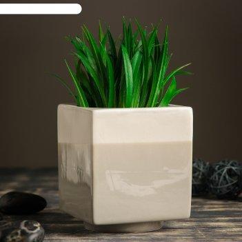 Кашпо керамическое куб серое 11*11*13 см