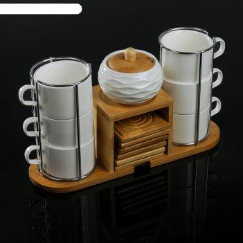Набор чайный эстет, 13 предметов: 6 чашек 150 мл, 6 подставок, сахарница 2