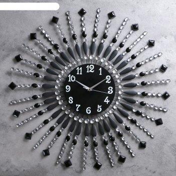 Часы настенные интерьерные черные со стрелами в виде бусин и камней, 69*69