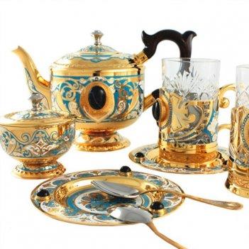 Сервиз чайный дуэт ( чайник, 2 подстаканика, 2 ложки, сахарниц