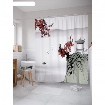 Фотоштора для ванной magic lady сакура и беседка на горе, 180х200 см, п/э