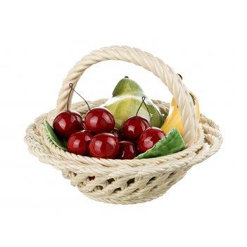 Изделие декоративное корзина с фруктами груша и банан диаметр=19 см высота