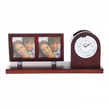 Набор настольный 3в1: часы, подставка п/ручки, 2 фоторамки (6х6), 26*11см