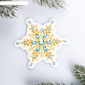 Шильдик на подарок новый год «снежинка новогодняя», 6,5 x6.0 см