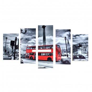 Картина модульная на холсте красный автобус 75*135см