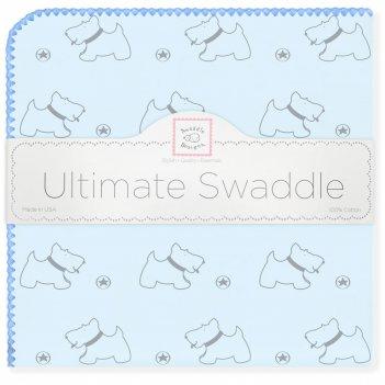 Пеленка фланель для новорожденного swaddledesigns ultimate gray doggie blu