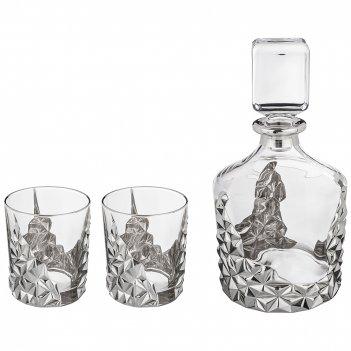 Набор для виски 3 пр.: штоф+2 стакана 1000/300 мл. высота=25/10 см.