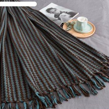 Плед этель «полоска», размер 130х150 см, цвет бирюзовый с коричневым, акри