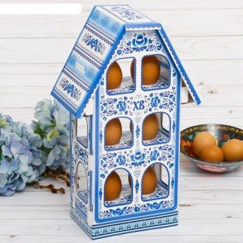 Пасхальная подставка для яиц «домик. гжель»